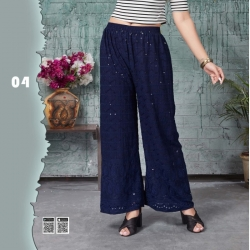 Embroidered Sequence Work Straight Blue Palazzo