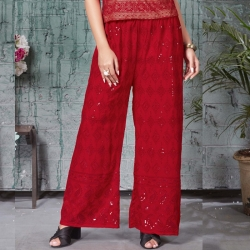 Red Embroidered Sequence Work Straight Sequins Palazzo