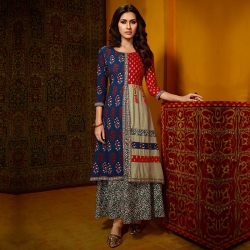 Littledesire Printed A-Line Round Neck Cotton Kurta