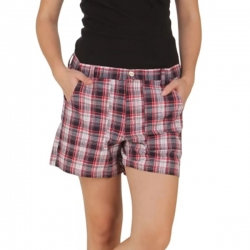 Women Check Print Cotton Sleep Shorts