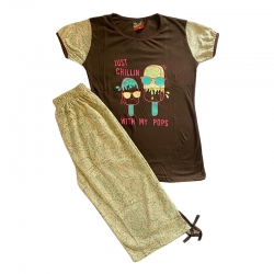 Printed Brown Top & Capri Sleepwear Set