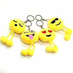 Fluffy Smiley Emoji Yellow Keychains Pack of 4