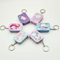 Cute Metal Mini Tin Keychain Storage Box Pack of 5 Random Color