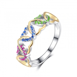 Love Heart Design Colorful CZ  Ring