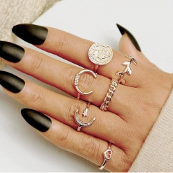 6 Pcs/Set Vintage Ring Geometric metal Ring Set