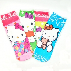Cute Hello Kitty Socks for Kids 6 to 13 Years - 4 Pairs