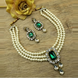 Green Stone Pearls Choker Necklace Set