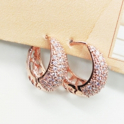 Rose Gold Round Shape Cubic Zirconia Earrings