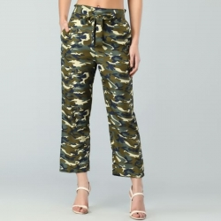 Camouflage Army Print Crepe Palazzo Pants