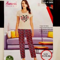 Printed Top & Pajama Cotton Night Suit