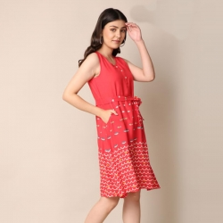 Printed Tie-up Waist Sleeveless Dress
