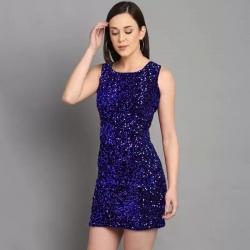 Round Neck Sequins Party Wear Sleeveless Mini Dress