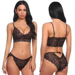 Floral Design V-Neck Lingerie Bra Panty Set