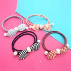 Striped Ruffle Pearl Rubber Band Hair Pack of 4