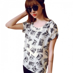Casual Chiffon Batwing Cat Print Tops