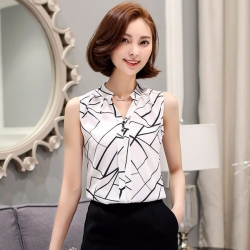 Korean Fashion Sleeveless White Chiffon Top