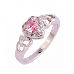 Heart Cut Sweet CZ Silver Ring