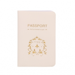 Beige PU Leather Passport or ID Card Cover Holder (Be Eco Traveler for Earth)