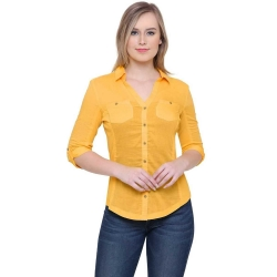 Littledesire Yellow Cotton Plain Shirt