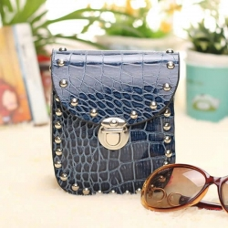 Rivet Crocodile Pattern Sling Bag
