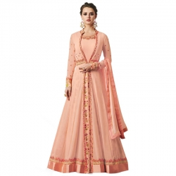 Embroidered Long Stylish Georgette Kurta With Dupatta