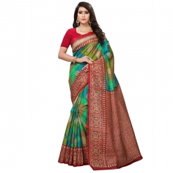 Littledesire Art Silk Printed Saree With Blouse