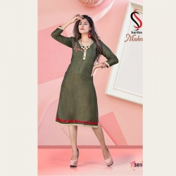 Littledesire Floral Embroidered Cotton Straight Kurti