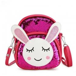 Littledesire Travel Sequins Glitter Rabbit Shoulder Backpack -10 inch
