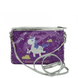 Littledesire Unicorn Sequins Glitter Crossbody Sling Bag - 9 Inch