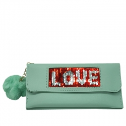 Littledesire Sequins Puff Ball Clutch Hasp Wallet