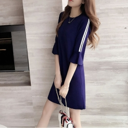 Women Loose Wear Trumpet Sleeves Dress