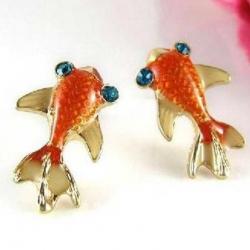Littledesire Cute & Lovely Goldfish Glazed Stud Earrings