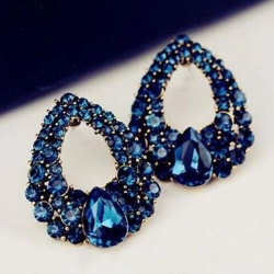 Littledesire Fashion Blue Crystal Rhinestone Earrings