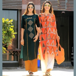 Littledesire Green & Orange Printed Straight Cotton Kurta Pack of 2