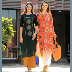 Littledesire Green & Orange Printed Straight Cotton Kurta Pack of 2