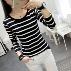 Littledesire Striped O-Neck Full Sleeve Women T-shirt