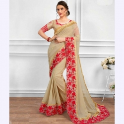 Red Floral Embroidered Bangalori Silk Party Wear Saree