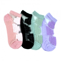 Lace Transparent Ankle Length Socks - 4 Pairs