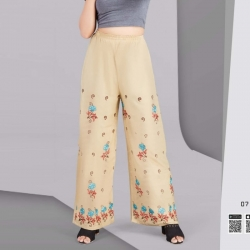 Littledesire Floral Embroidered Straight Rayon Palazzo