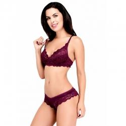 Littledesire Lace Design V-Neck Bra & Panty Set