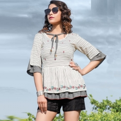 Floral Embroidered Layered Short Kurti Top