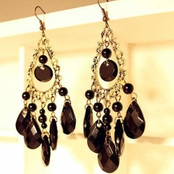 Water Drop Hollow Tassel Long Earrings