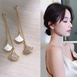 Crystal Fan-Shaped Long Tassel Earrings