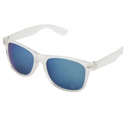 Latest Transparent Frame Blue Mirrored Lens Sunglasses