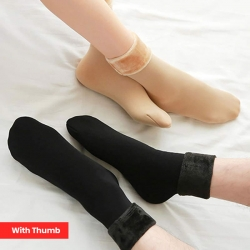 Thermal Soft Faux Fur Women Winter Warm Thumb Socks 2 Pairs