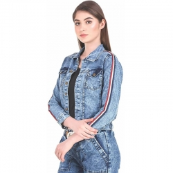 Stripes Denim Women Jacket