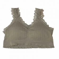 Deep V Neck Lace Design Seamless Padded Bralette