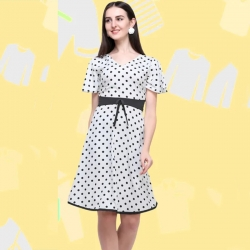 Polka Dot Printed A-line Fit & Flare Dress