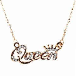 Golden Platted Queen Pendant Necklace with Chain