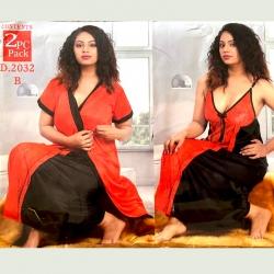 Littledesire Black & Red Lace 2 pcs Satin Nightwear